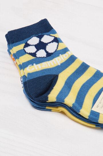 Set tre paia di calze in cotone, Blu/Giallo, hi-res