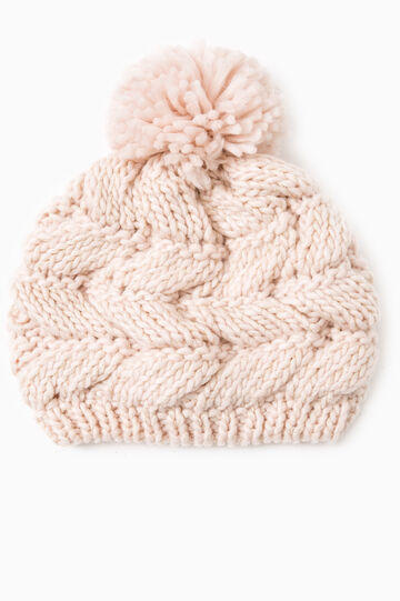 Knit beanie cap with pompom, Pink, hi-res