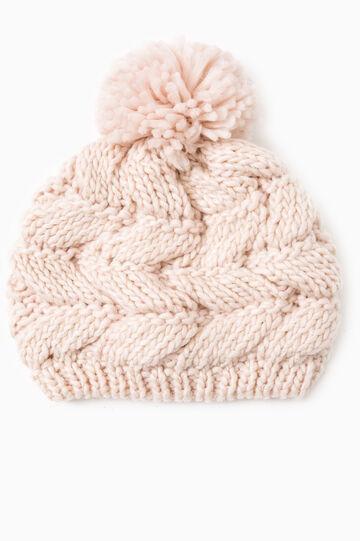 Cappello a cuffia tricot con pon pon, Rosa, hi-res