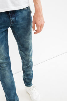 Skinny-fit, faded-effect jeans, Denim, hi-res