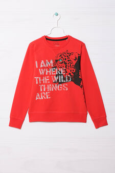 100% cotton sweatshirt with printed lettering, Red, hi-res