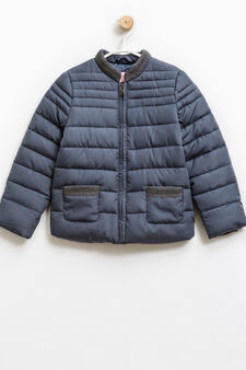 Solid colour down jacket with beading, Grey, hi-res