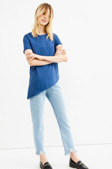 Raw-cut T-shirt with asymmetric hem, Blue Marl, hi-res