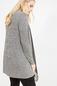 Curvy knit cardigan with shawl collar., Black/Grey, hi-res