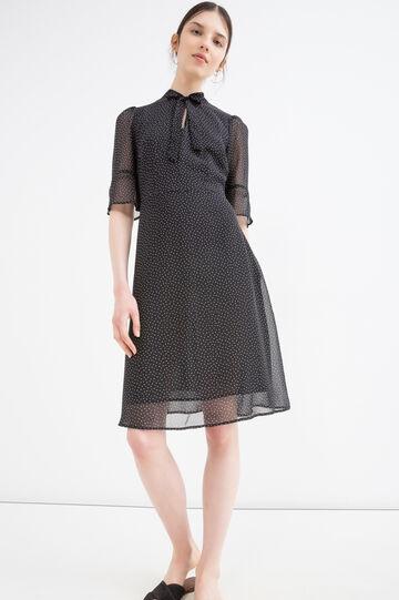 Short dress with polka dot pattern, Black, hi-res