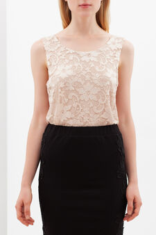 Floral lace top, Baby Pink, hi-res