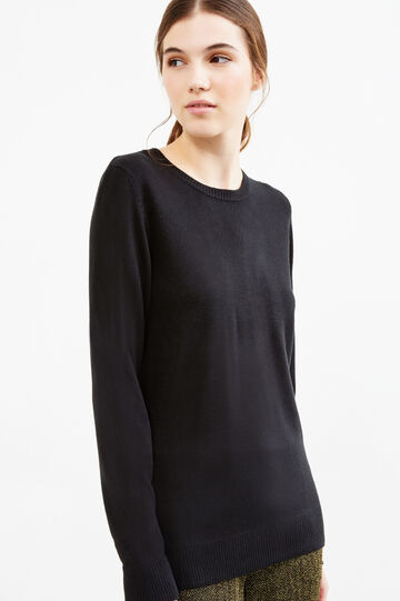 Solid colour pullover with small side slits, Black, hi-res