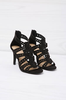 Sandals with heel, Black, hi-res