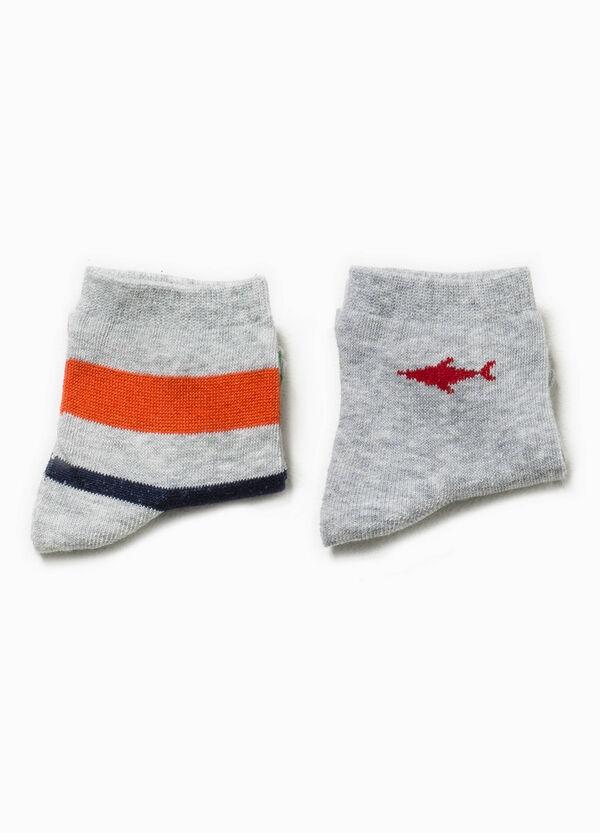 Set due paia di calze corte unito e rigate | OVS