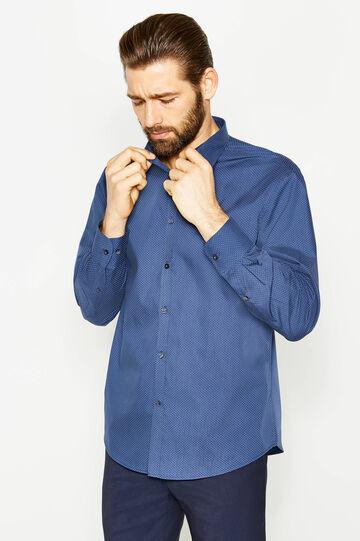 Camicia formale regular fit cotone pois, Blu/Azzurro, hi-res