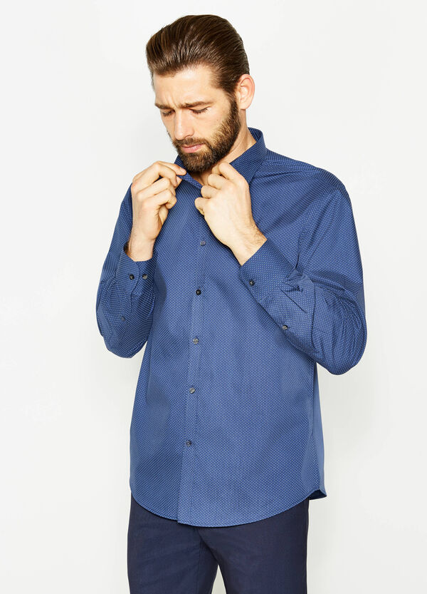 Regular-fit cotton formal shirt with polka dot pattern | OVS