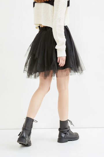 Solid colour short skirt in tulle, Black, hi-res