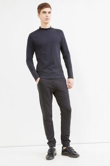 Solid colour 100% cotton joggers, Black, hi-res