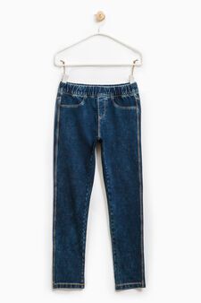 Worn-effect stretch jeggings, Dark Wash, hi-res
