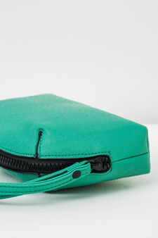 Solid colour clutch with zip, Aqua Blue, hi-res