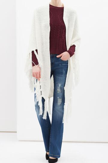 Knitted shawl with fringe, Cream White, hi-res