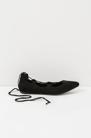 Solid colour lace-up ballerina flats, Black, hi-res