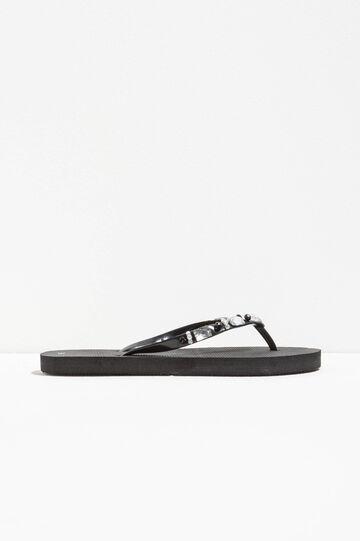 Flip flops with diamanté appliqués