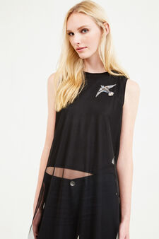 Long sleeveless T-shirt in tulle, Black, hi-res