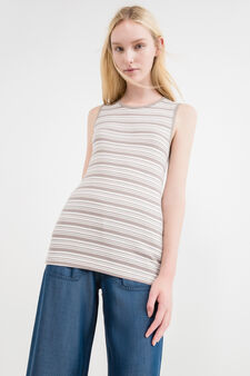 Ribbed top in 100% striped cotton, White/Brown, hi-res