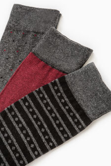 Three-pair pack long stretch patterned socks, Grey, hi-res