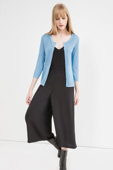 Solid colour knitted cotton cardigan, Sky Blue, hi-res