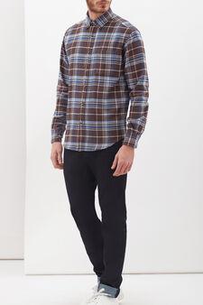 Camicia puro cotone button down, Blu/Marrone, hi-res