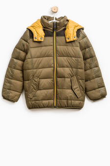 Down jacket with removable hood, Army Green, hi-res