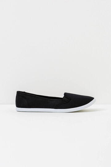 Solid colour canvas slip-ons, Black, hi-res