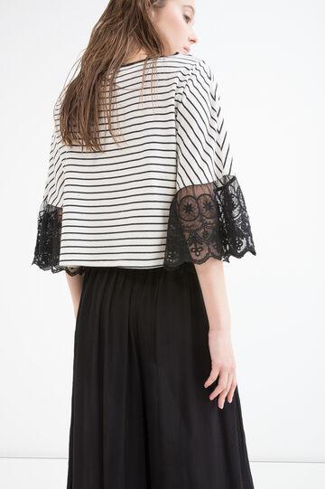 T-shirt cotone a righe con pizzo, Bianco/Nero, hi-res