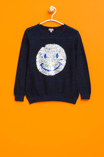 Cotton and lurex pullover with sequins, Blue, hi-res