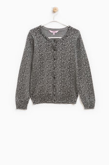 Cardigan puro cotone stampa all-over, Grigio scuro, hi-res