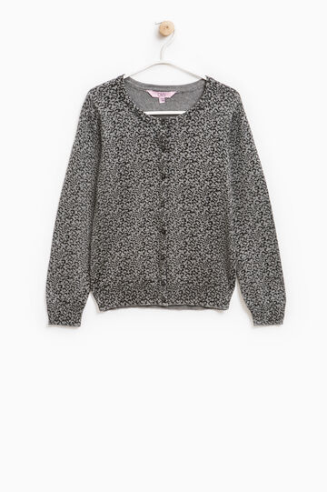 100% cotton cardigan with all-over print, Dark Grey, hi-res