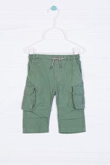 Pantaloni puro cotone con tasche, Verde, hi-res