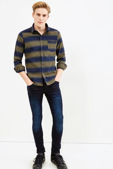 Camicia casual in flanella a righe, Verde, hi-res