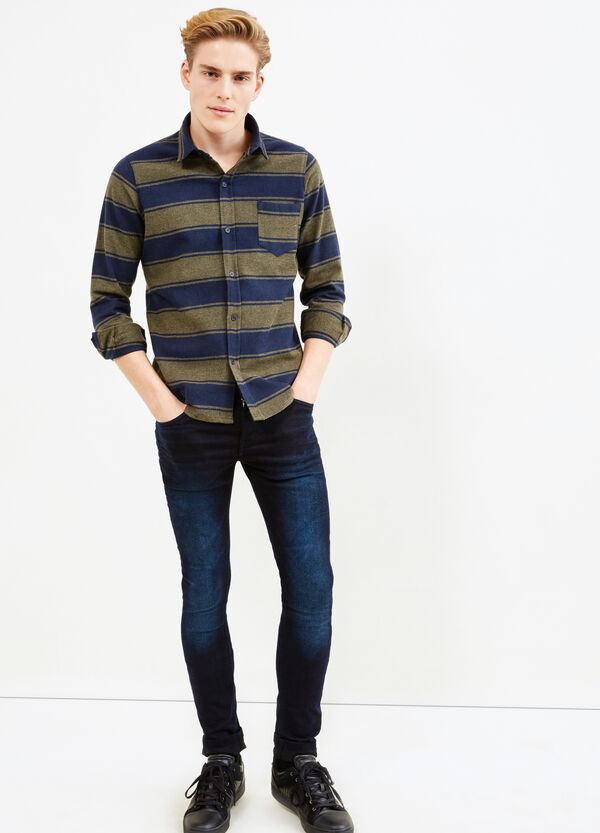 Casual striped flannel shirt | OVS