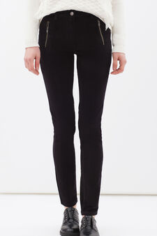 Stretch cotton trousers with zip, Black, hi-res
