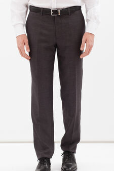 Elegant trousers in stretch viscose blend, Grey, hi-res