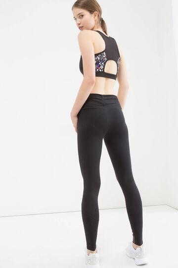 Stretch cotton gym leggings, Black, hi-res