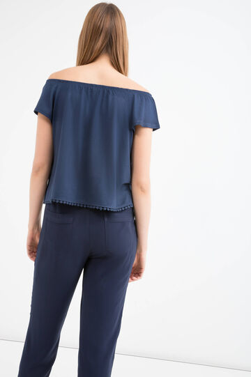 Short blouse with boat neck, Navy Blue, hi-res