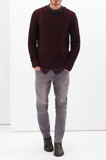 Two-tone, crew-neck pullover, Black/Red, hi-res