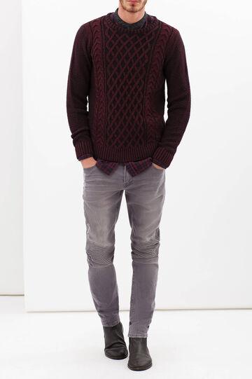 Pullover girocollo bicolore, Nero/Rosso, hi-res