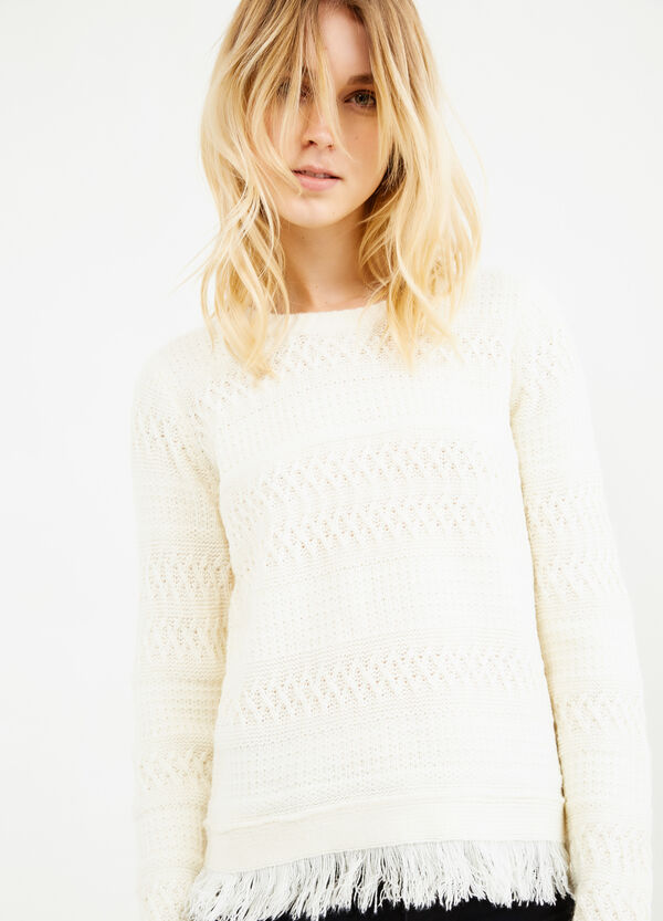 Solid colour knit pullover with fringe   OVS