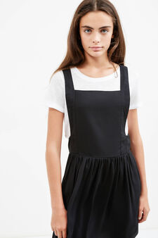 Teen pinafore dress with braces, Black, hi-res