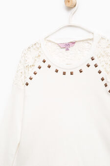 100% cotton sweatshirt with lace and studs, Off-white, hi-res