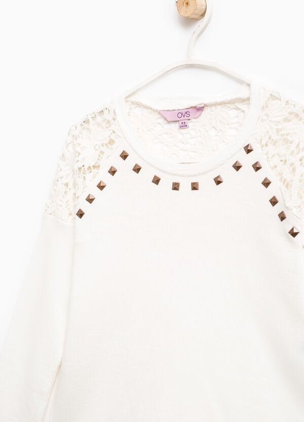 100% cotton sweatshirt with lace and studs | OVS
