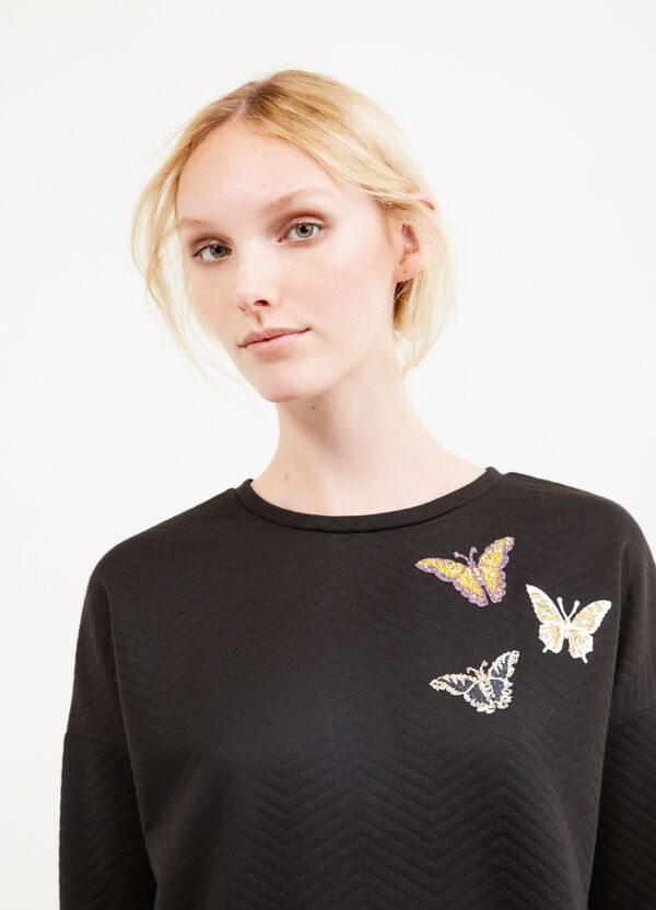 Viscose blend sweatshirt with embroidery and glitter   OVS