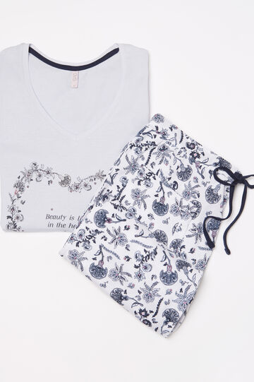 Cotton pyjamas with contrasting print, Berry, hi-res