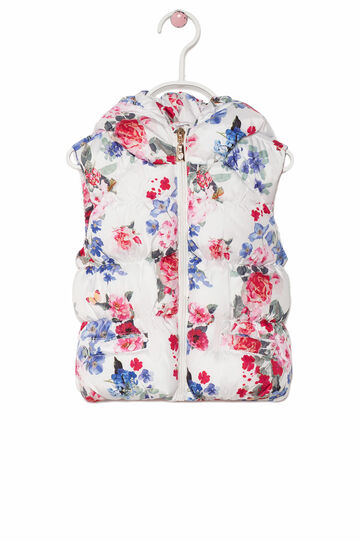 Padded waistcoat with floral pattern, Milky White, hi-res