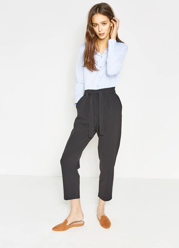High-waisted trousers in stretch viscose | OVS